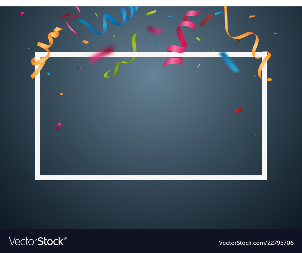 Colorful party frame and confetti