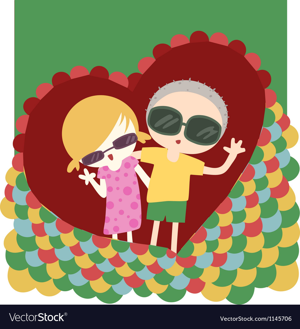 Couple with heart vector image