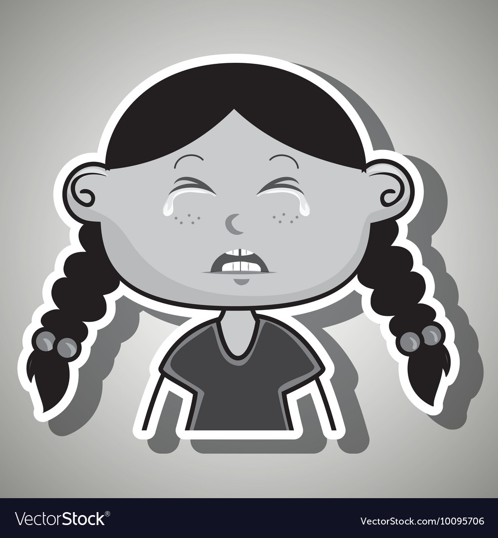 Crying cartoon little girl on white background