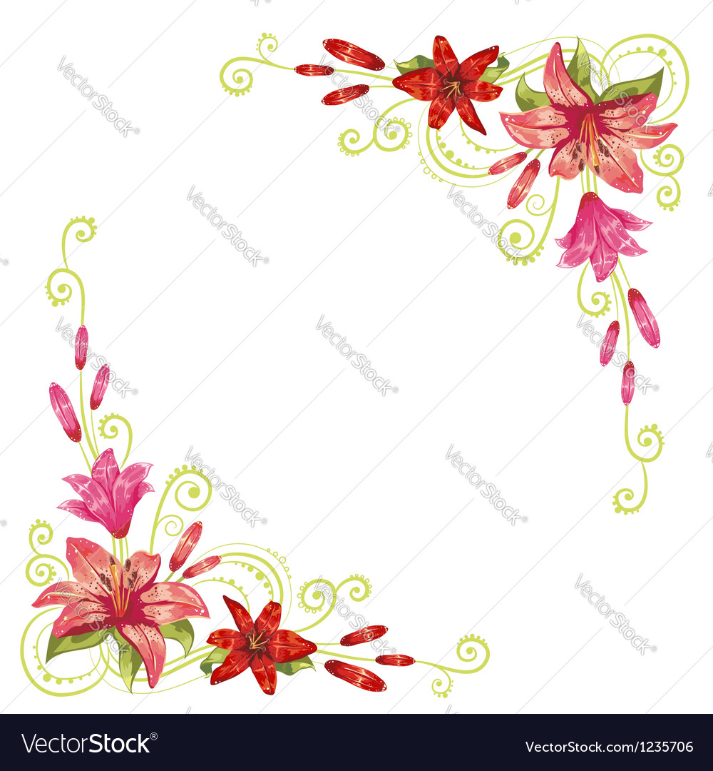 Elegant curves flower corners isolated vector image
