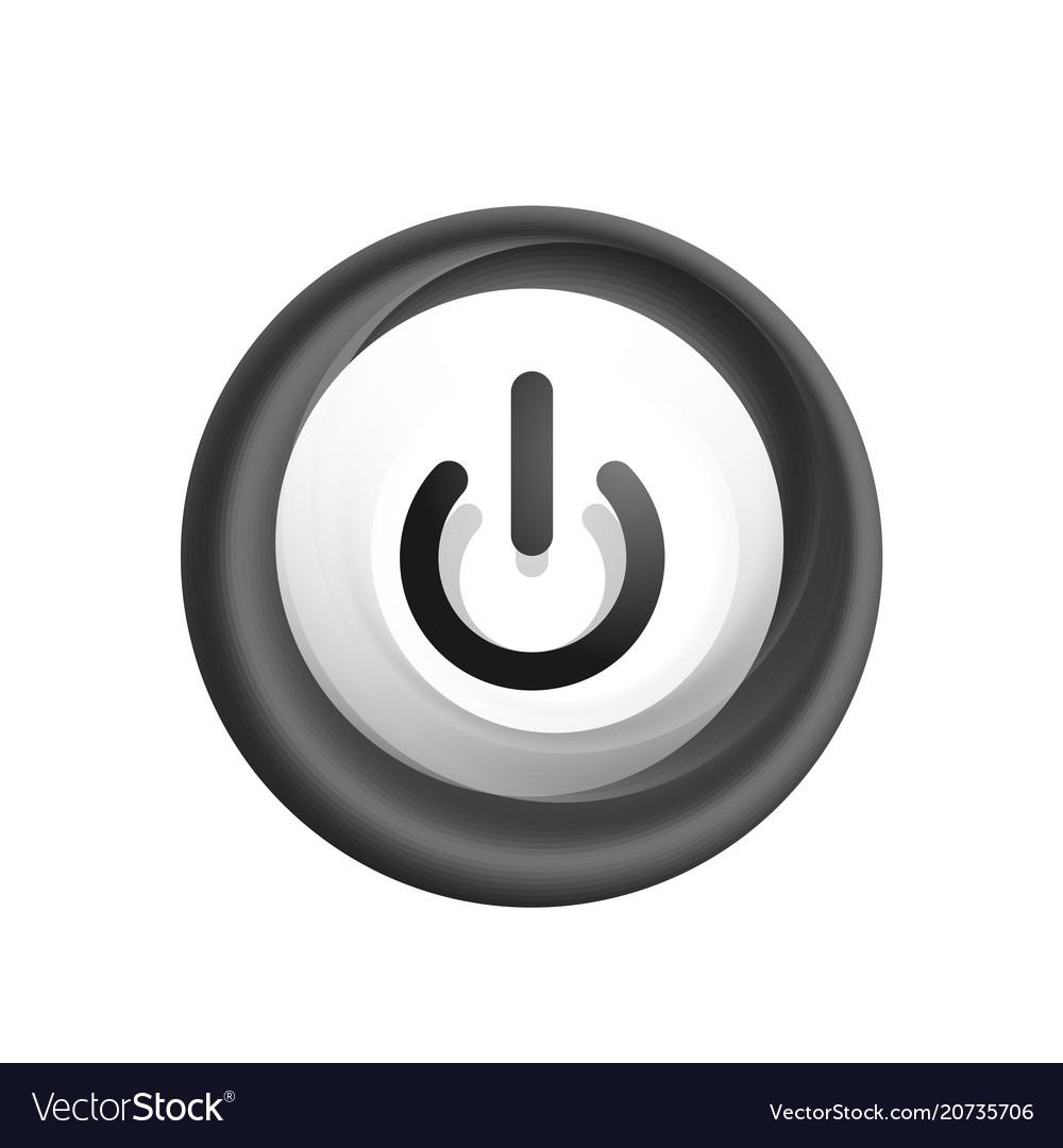 Glass transparent effect power start button on