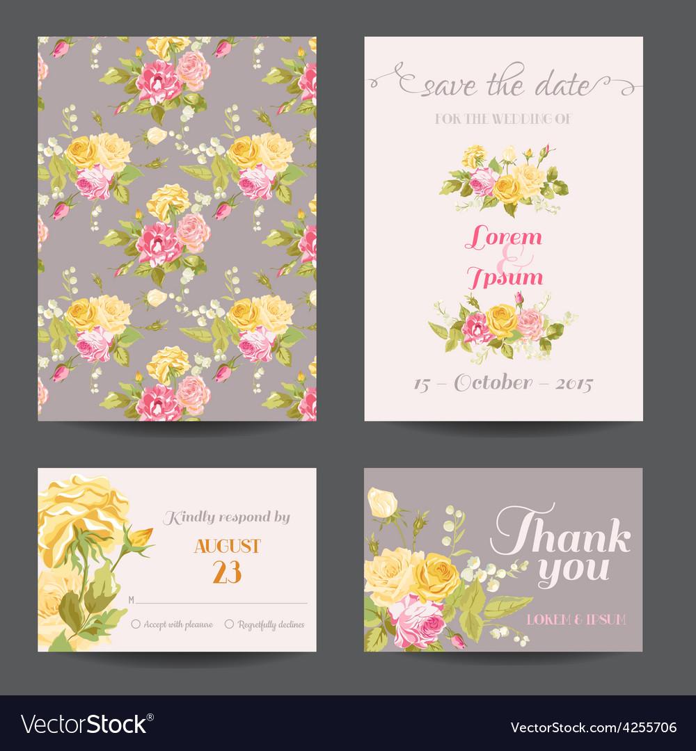 Invitation flower card set - save date