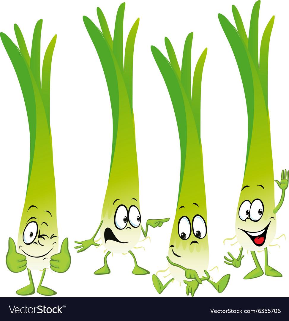 Leek or green onion- funny cartoon