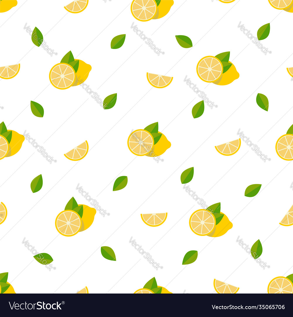 Lemons seamless pattern background with tropical