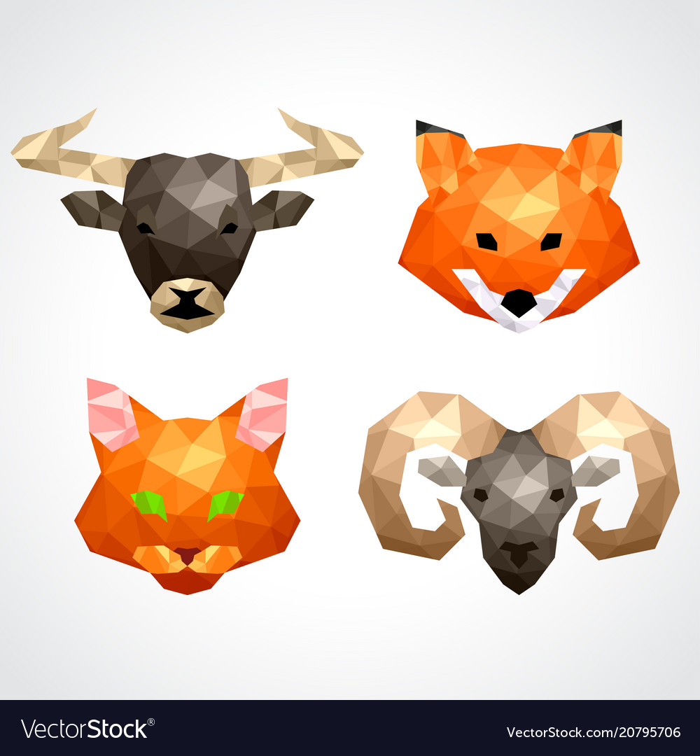 Low poly animals bull fox cat ram set