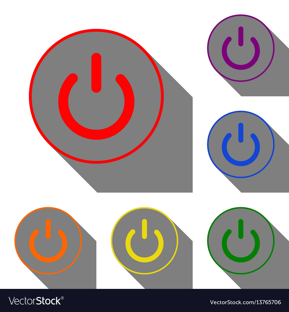 On off switch sign set of red orange yellow Vector Image
