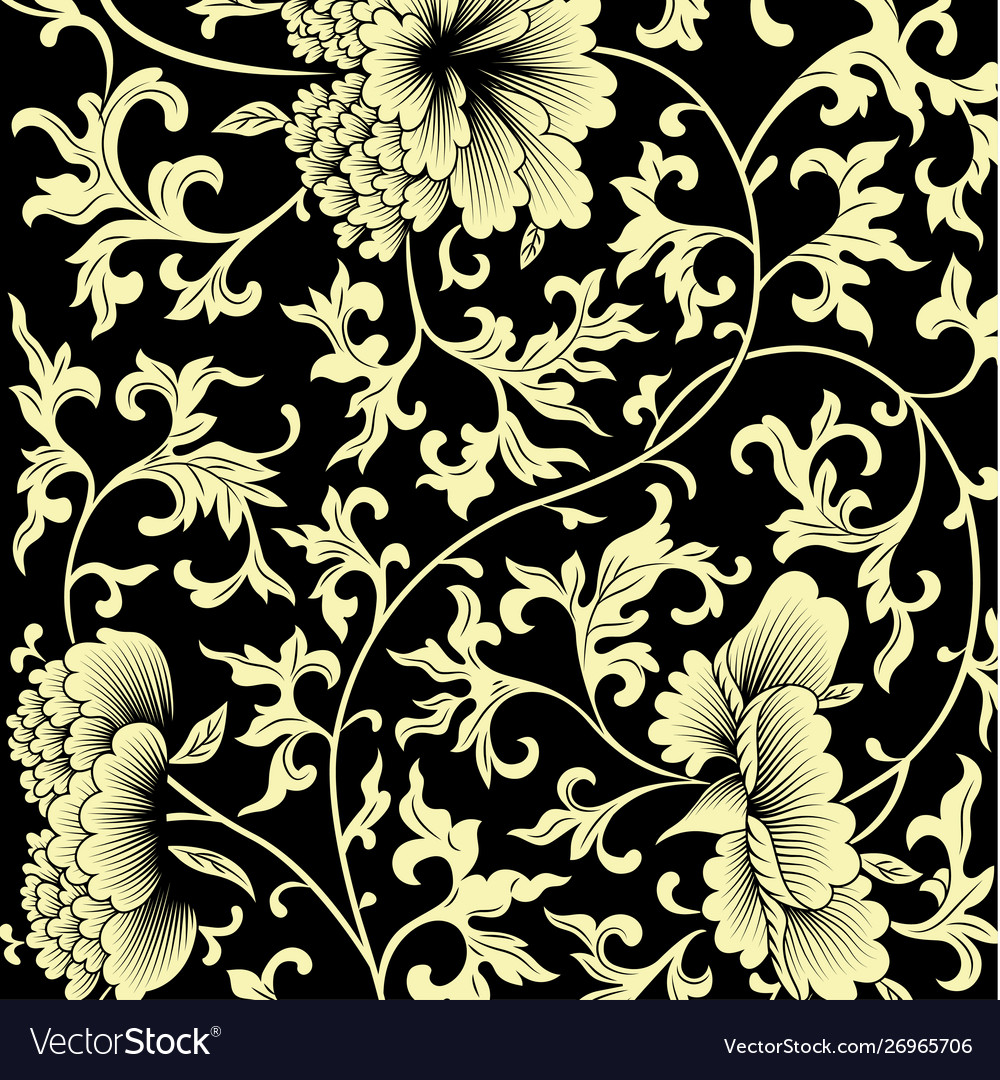 Pattern on black background with chinese flowers