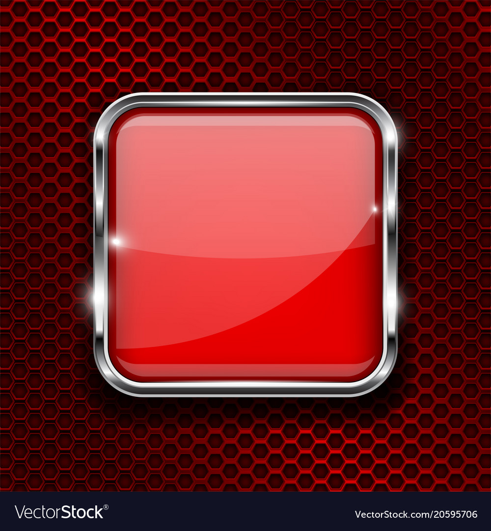 Red button with chrome frame square glass shiny