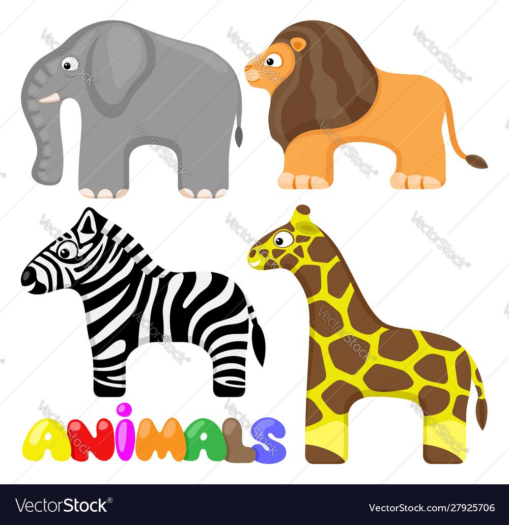 Set cute african animals