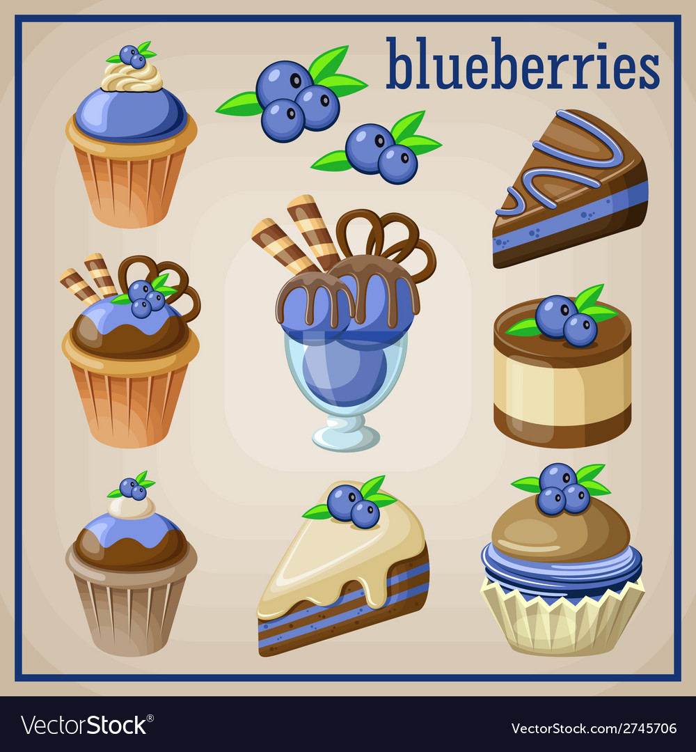 Set of sweets with blueberries
