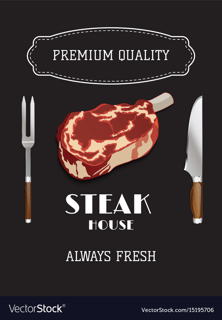 Steak and grill house template menu poster