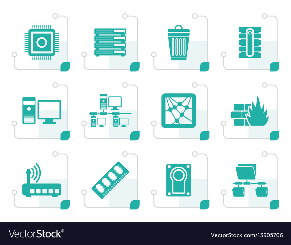 Stylized computer and website icons