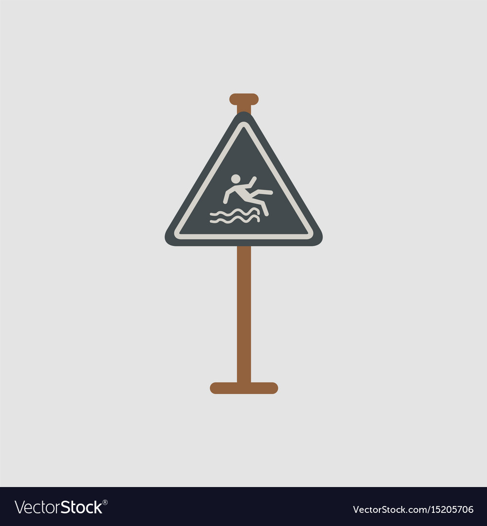 Traffic sign caution danger of falling into the