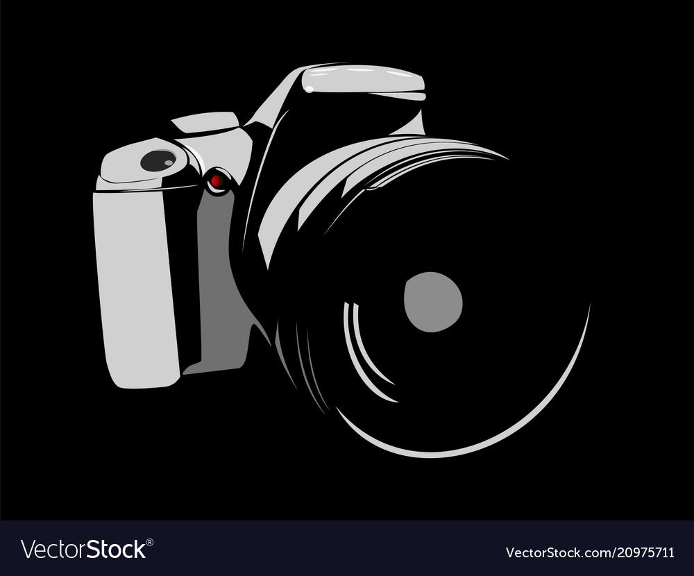 Camera logo white on a black background