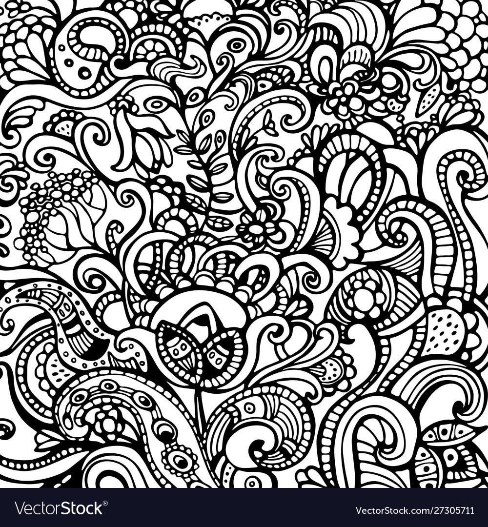Decorative hand drawn floral background