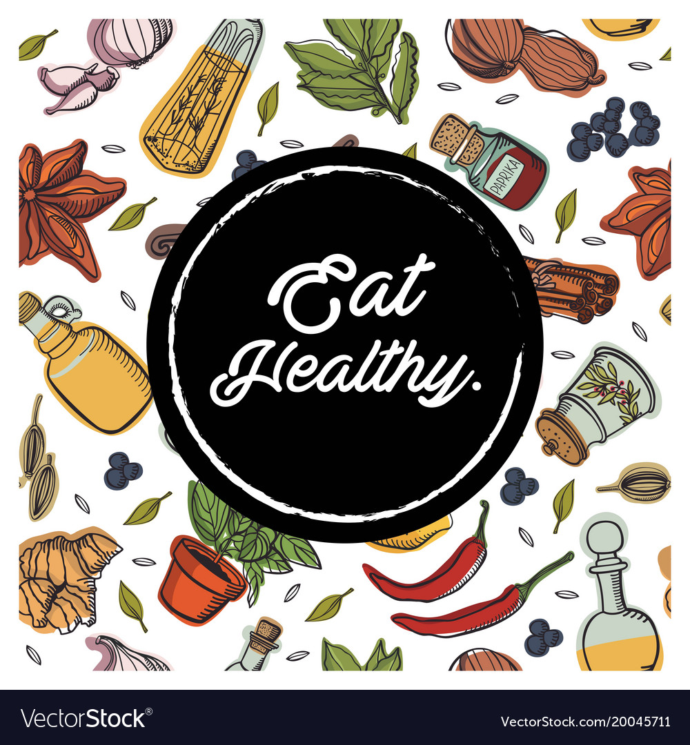 Eat healthy circle garnish background image
