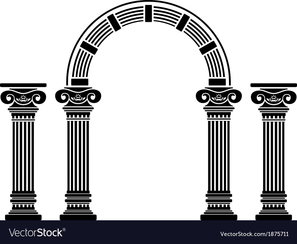 Fantasy arch and columns vector image