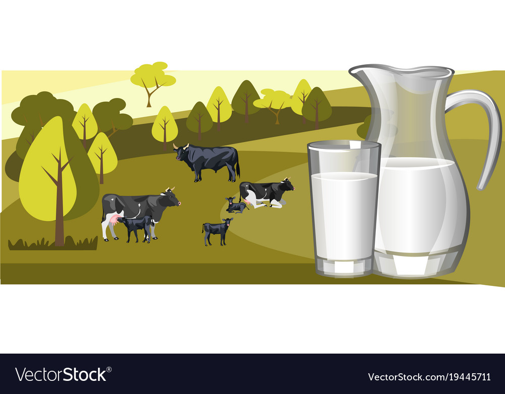 Fresh natural milk with cow