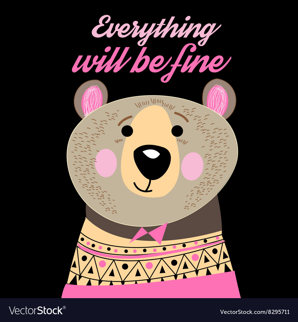 Graphic portrait of a funny bear
