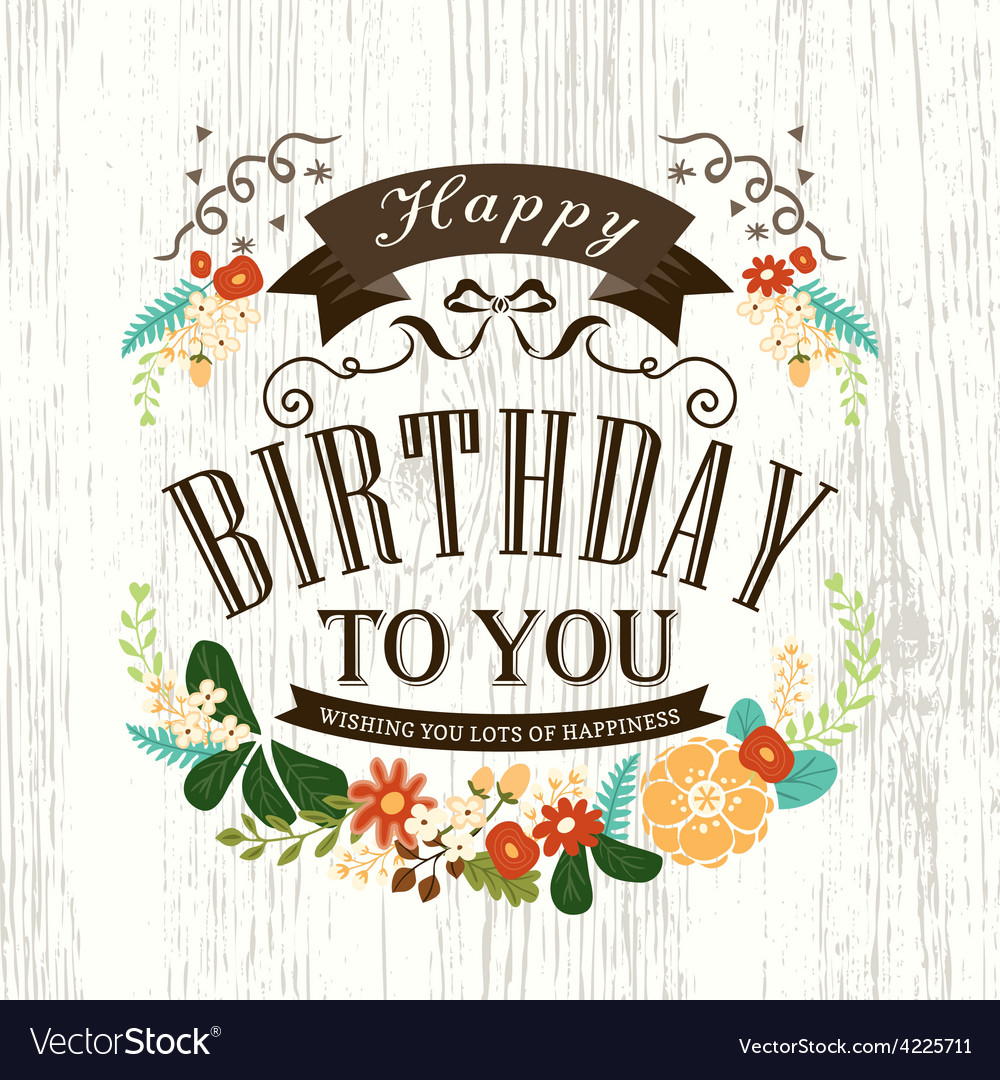 Happy birthday card design with flowers ribbon