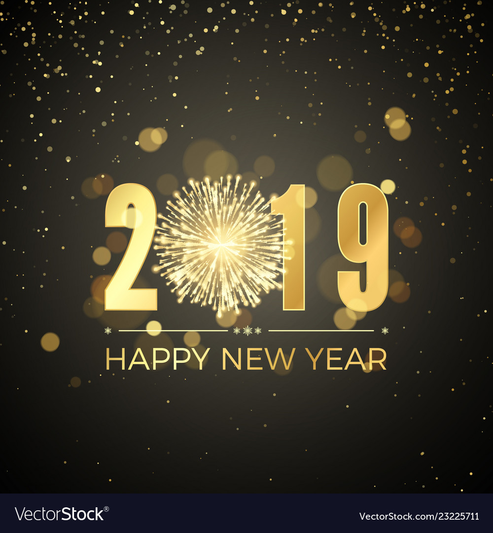 Happy new year 2019 new years banner with golden