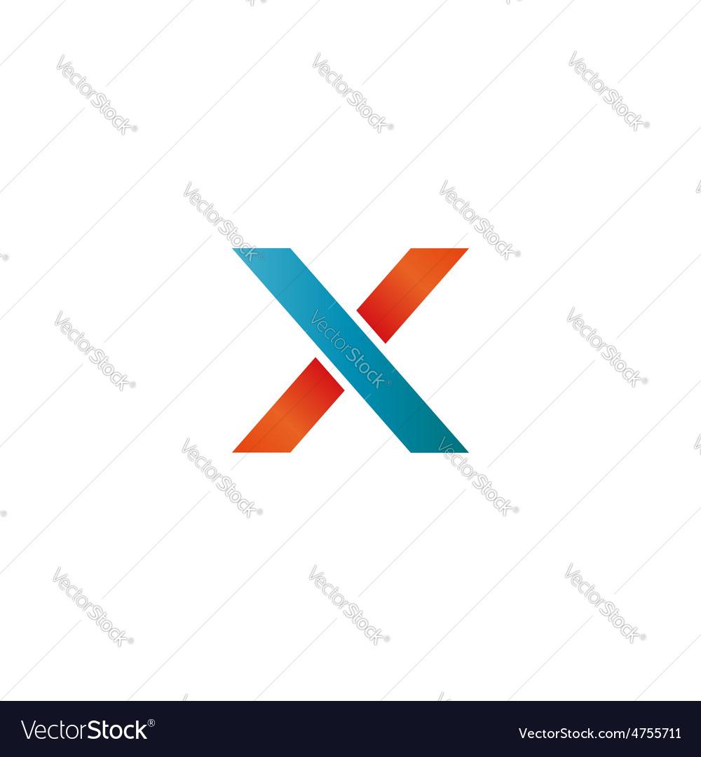 Logo blue and orange X letter mockup design