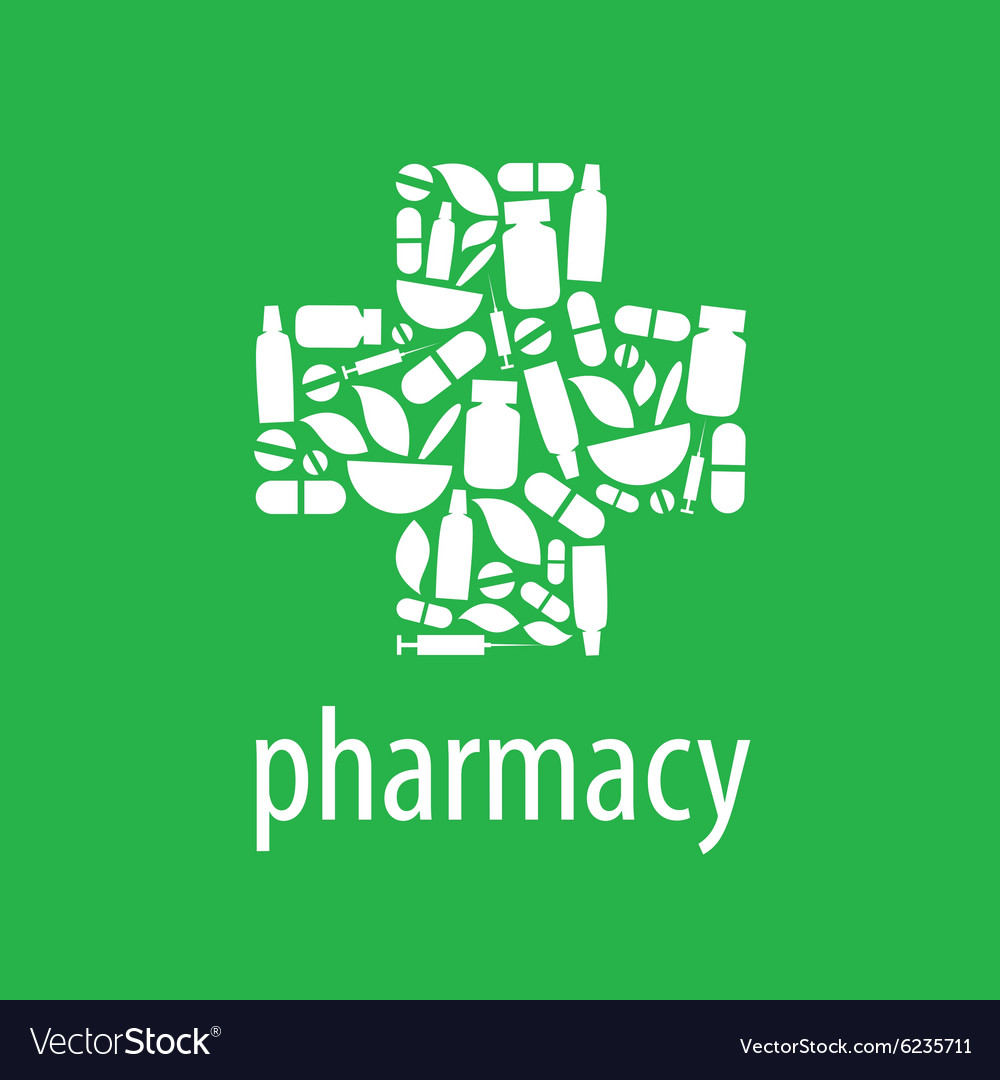 Logo for pharmacy cross on a green background vector image