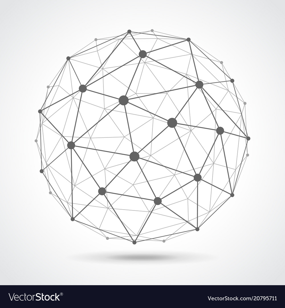 Low poly sphere from dots and lines isolated
