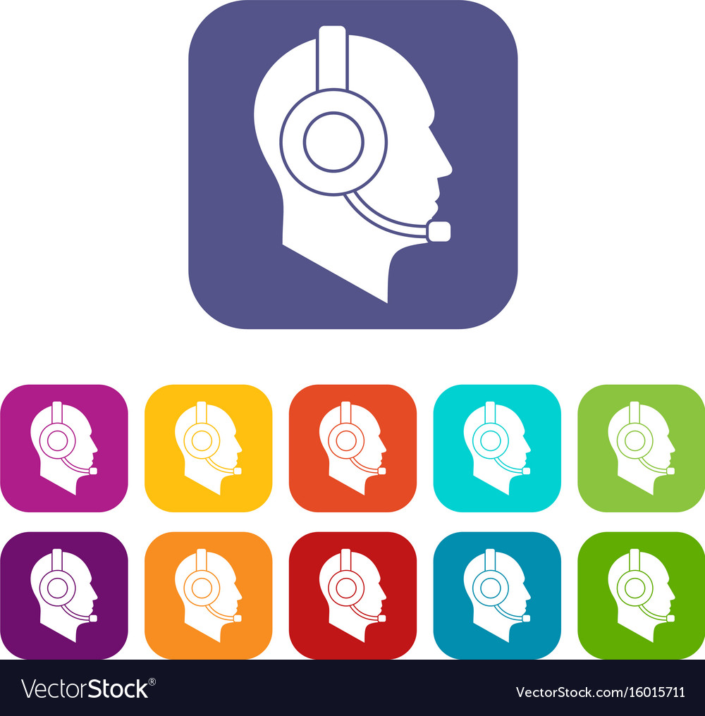 Operator in headset icons set