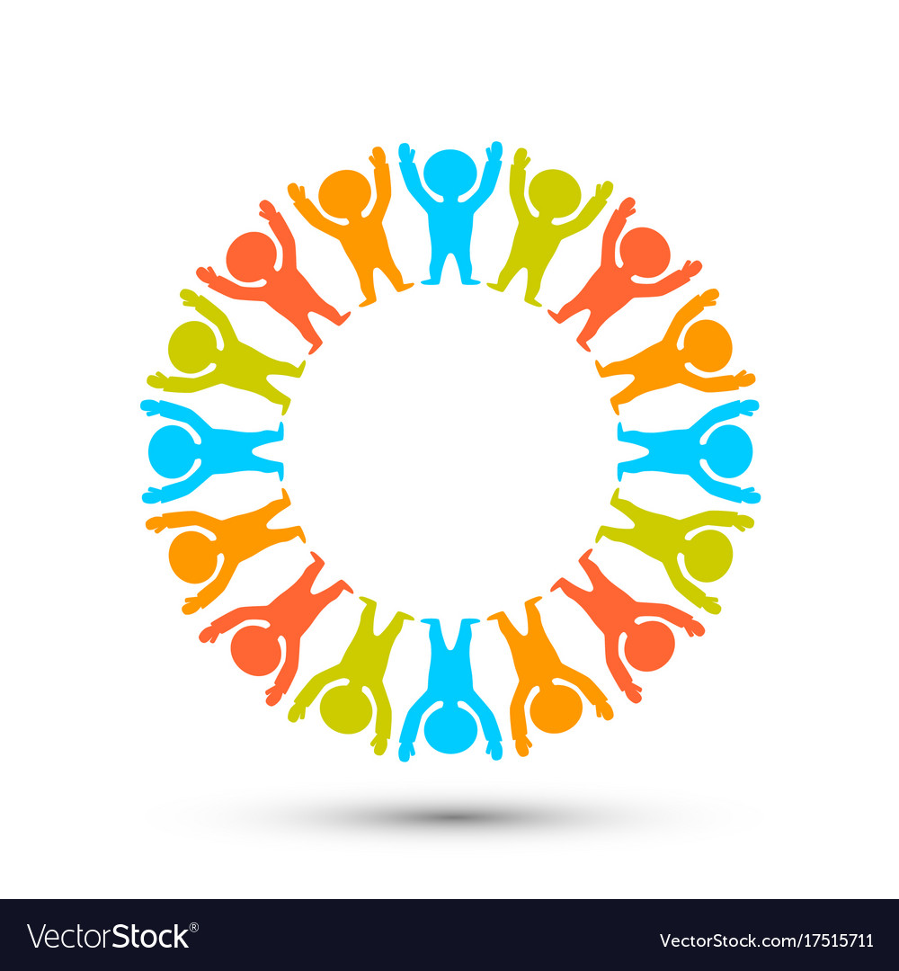People in a circle on the white background