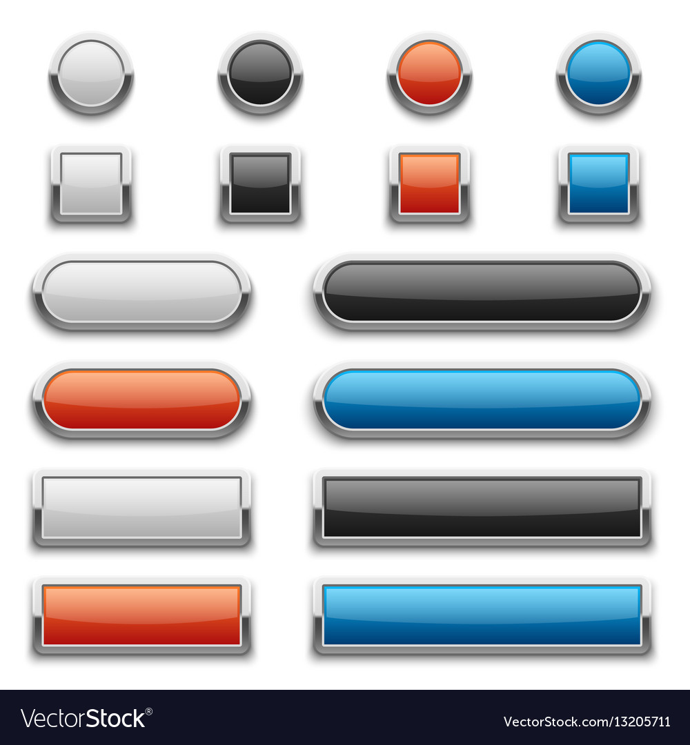 Red blue black and white glossy buttons