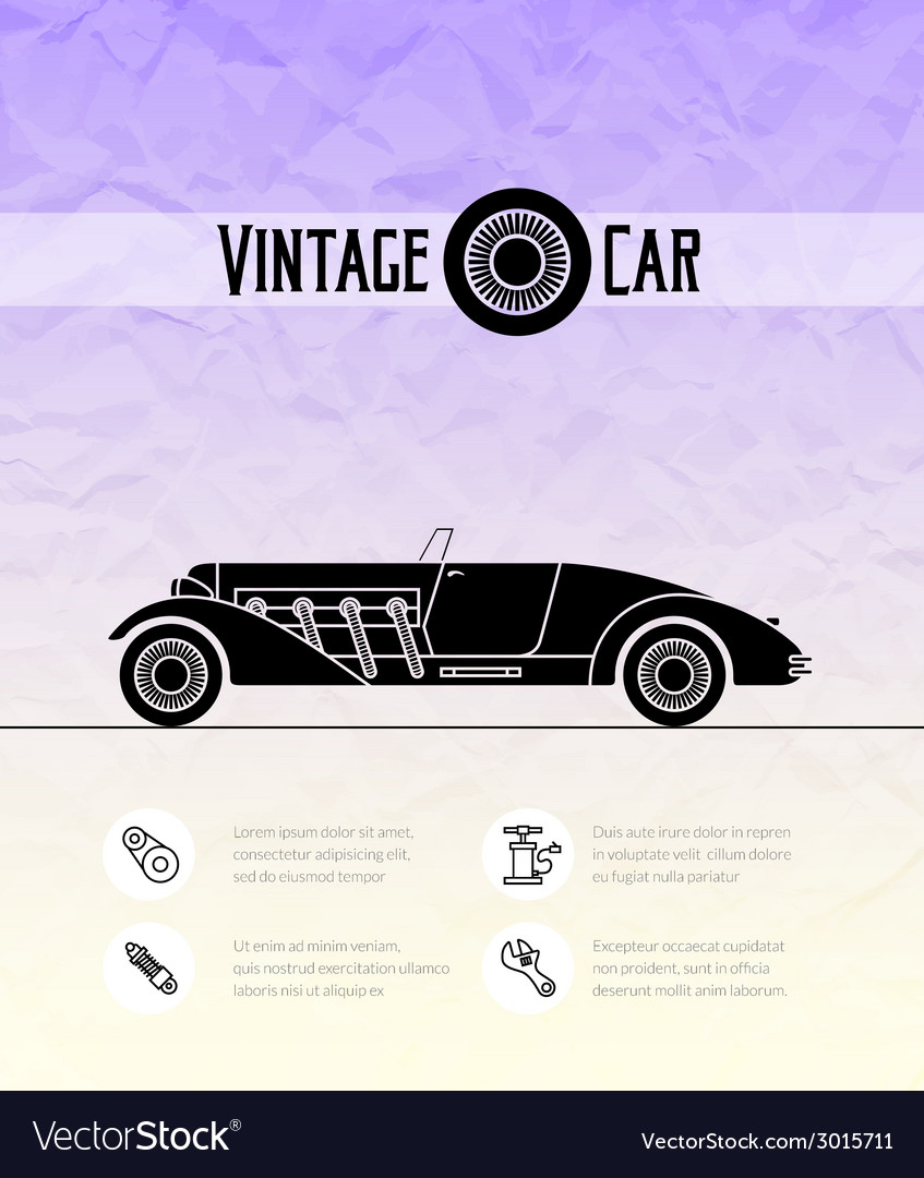 Retro cabriolet sport car vintage outline style