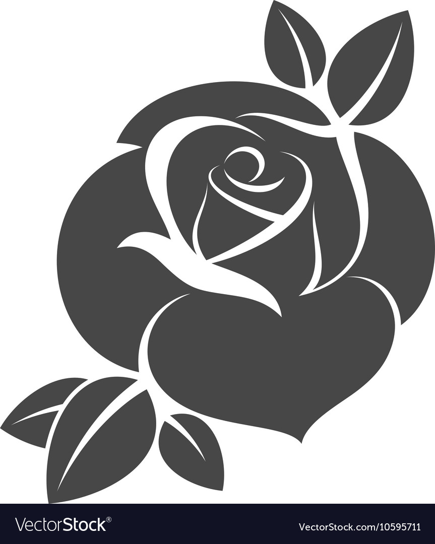 921635055 Silhouette of black rose Royalty Free Vector Image