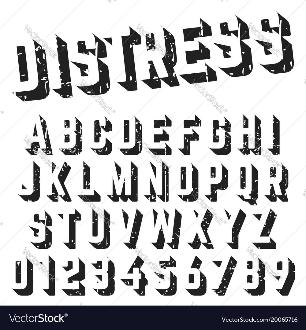 Alphabet font template distressed texture design