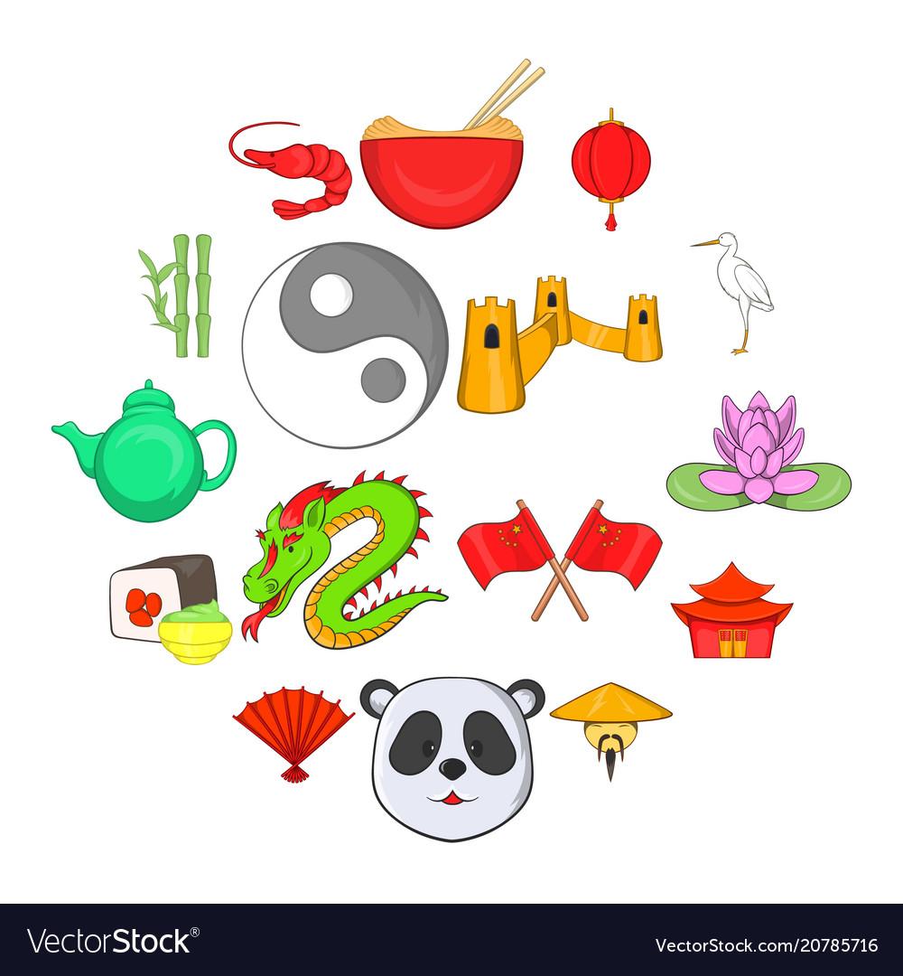 China icons set cartoon style