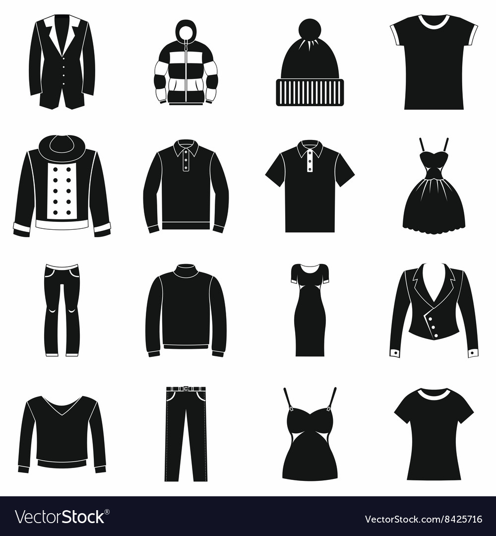 Clothes icons set simple style