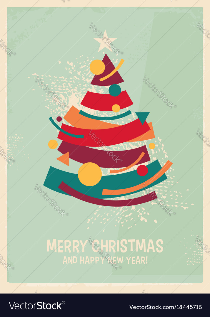 Colorful Christmas Tree Vector.Colorful Christmas Tree Made From Geometric Shapes