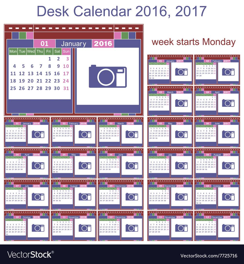 desk calendar 2016 2017 royalty free vector image