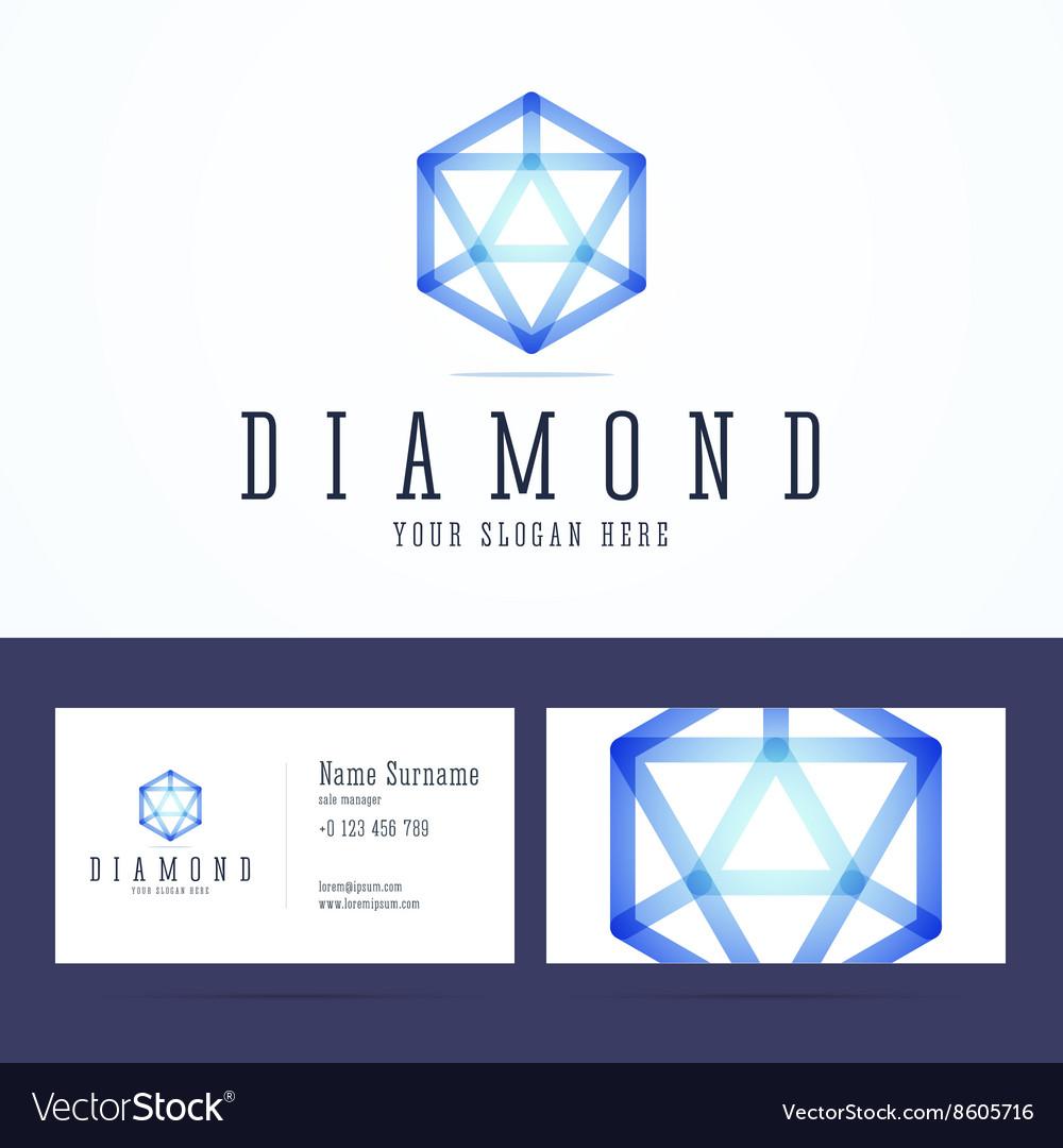 Diamond logo and business card template