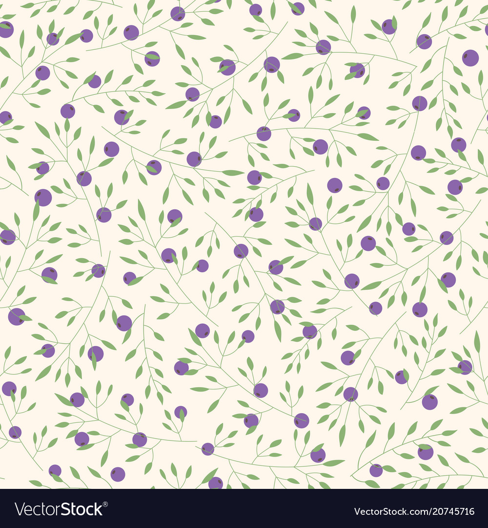Hand drawn pattern with branches and berries