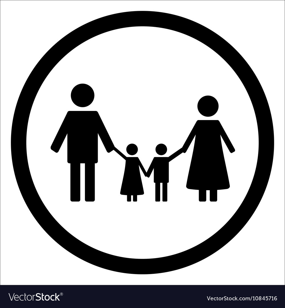 Happy family black silhouette icon vector image