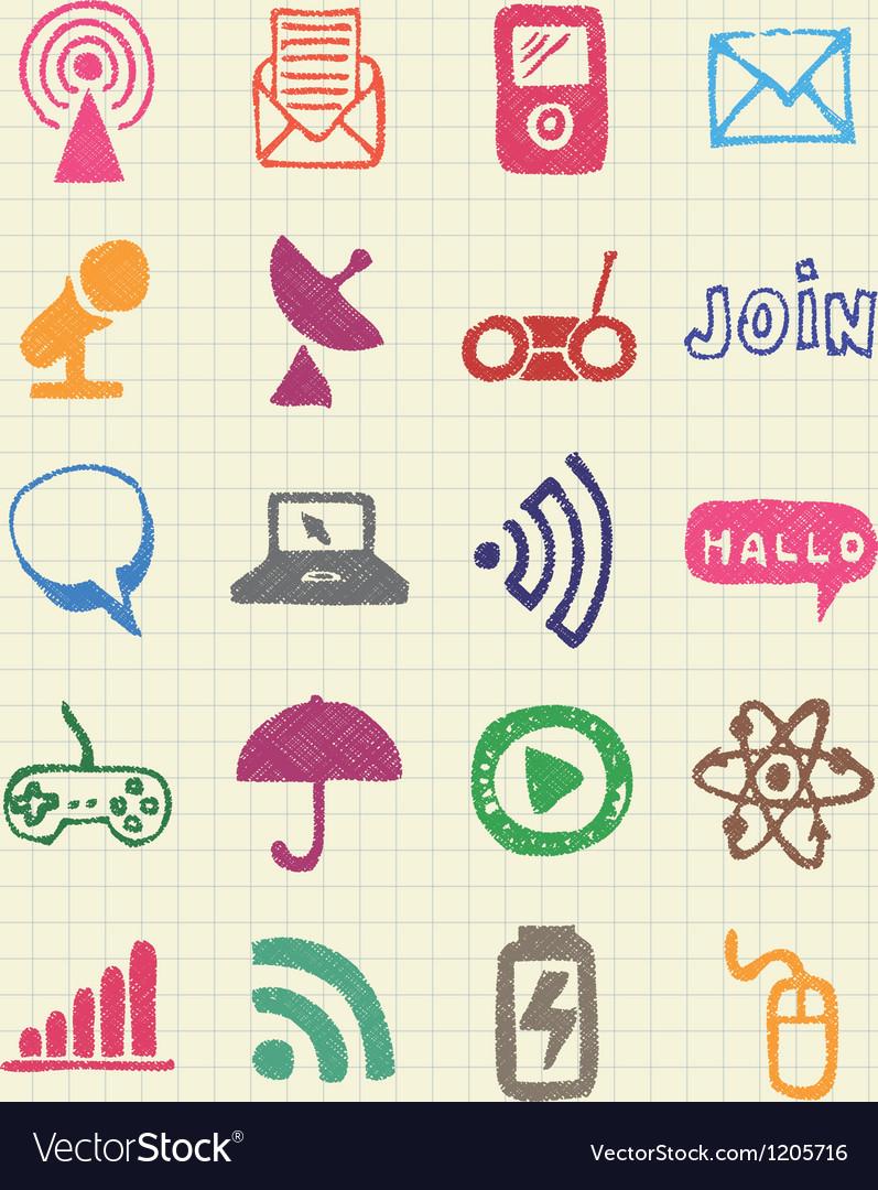 Internet media and network web icons set
