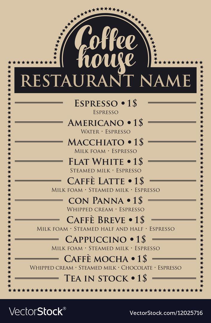 Menu for coffee house