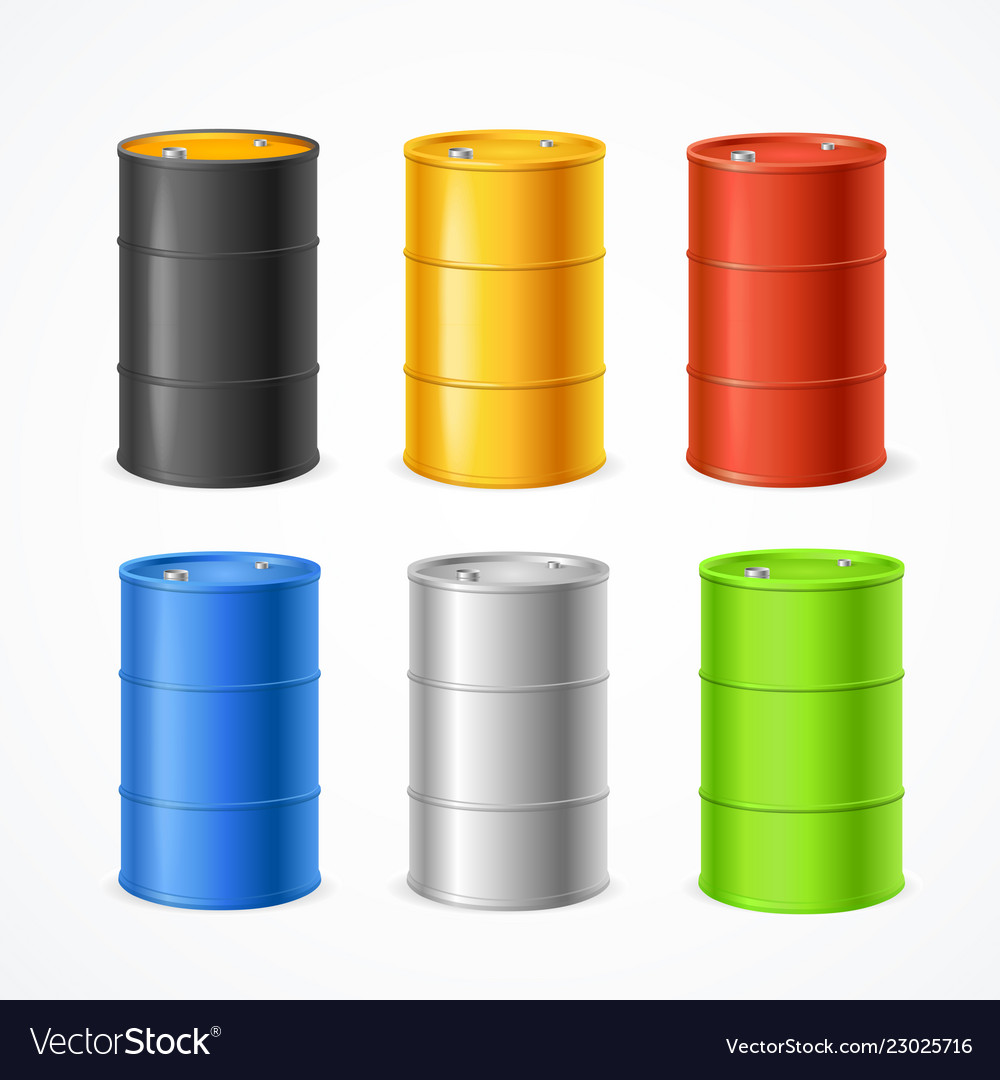 Realistic 3d detailed color barrels set