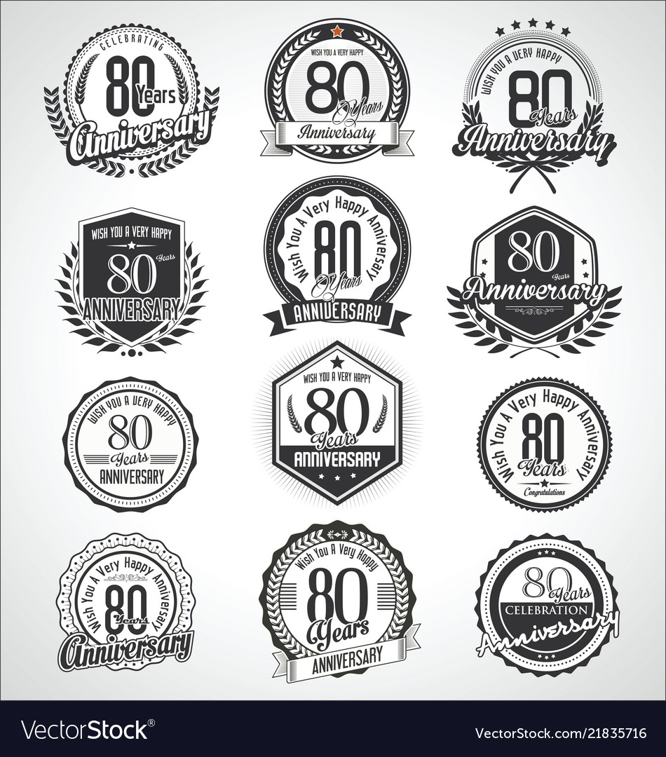 Retro vintage anniversary badges and labels