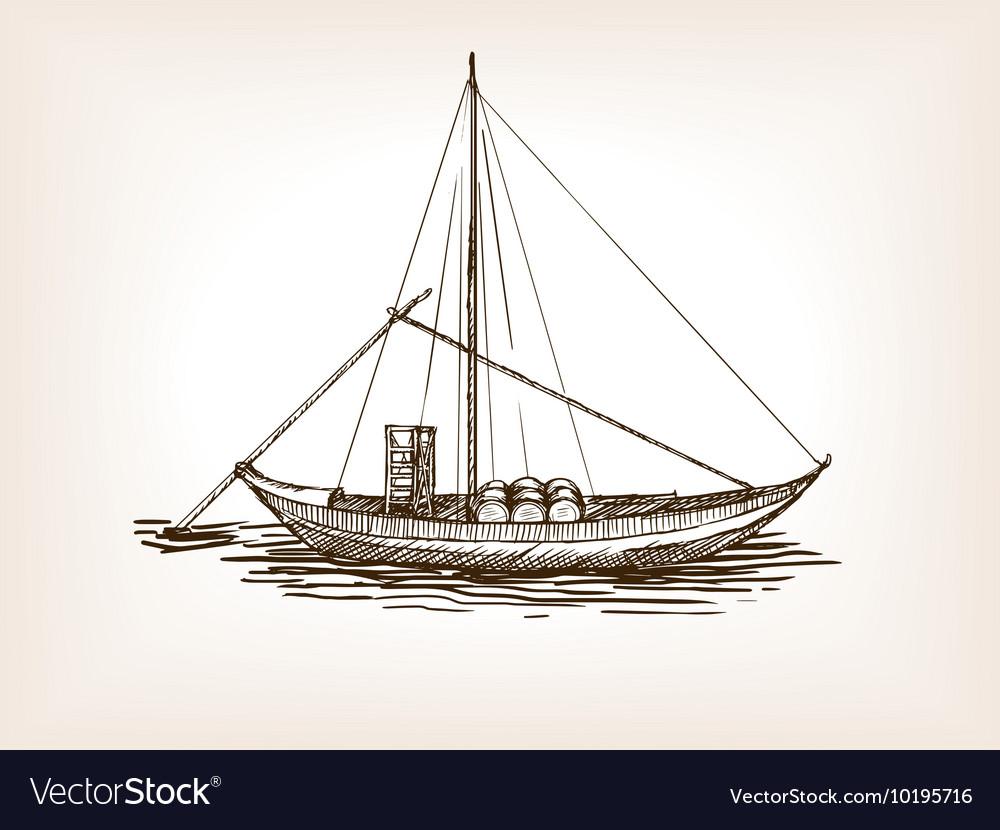 Sailing ship wine barrels sketch vector image
