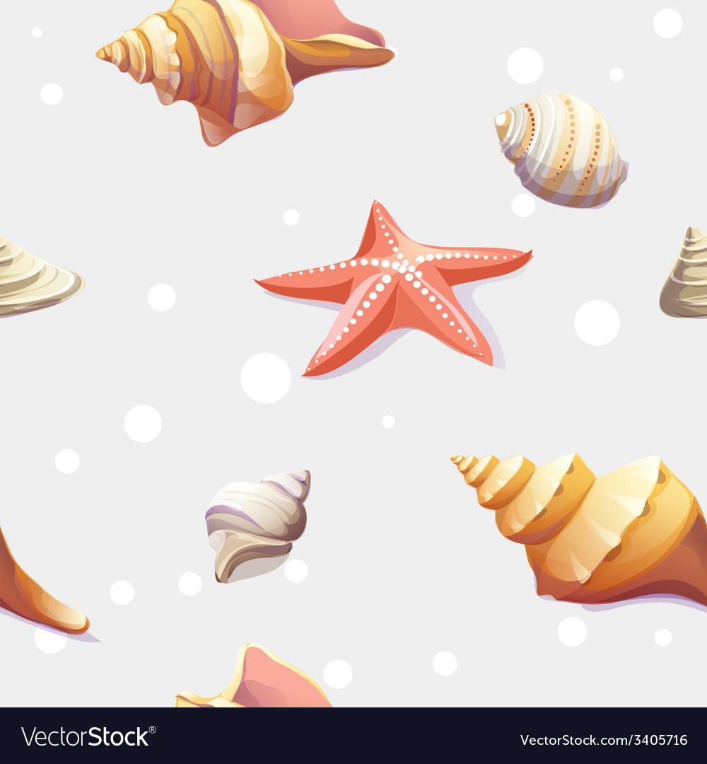 Seamless texture with image seashells