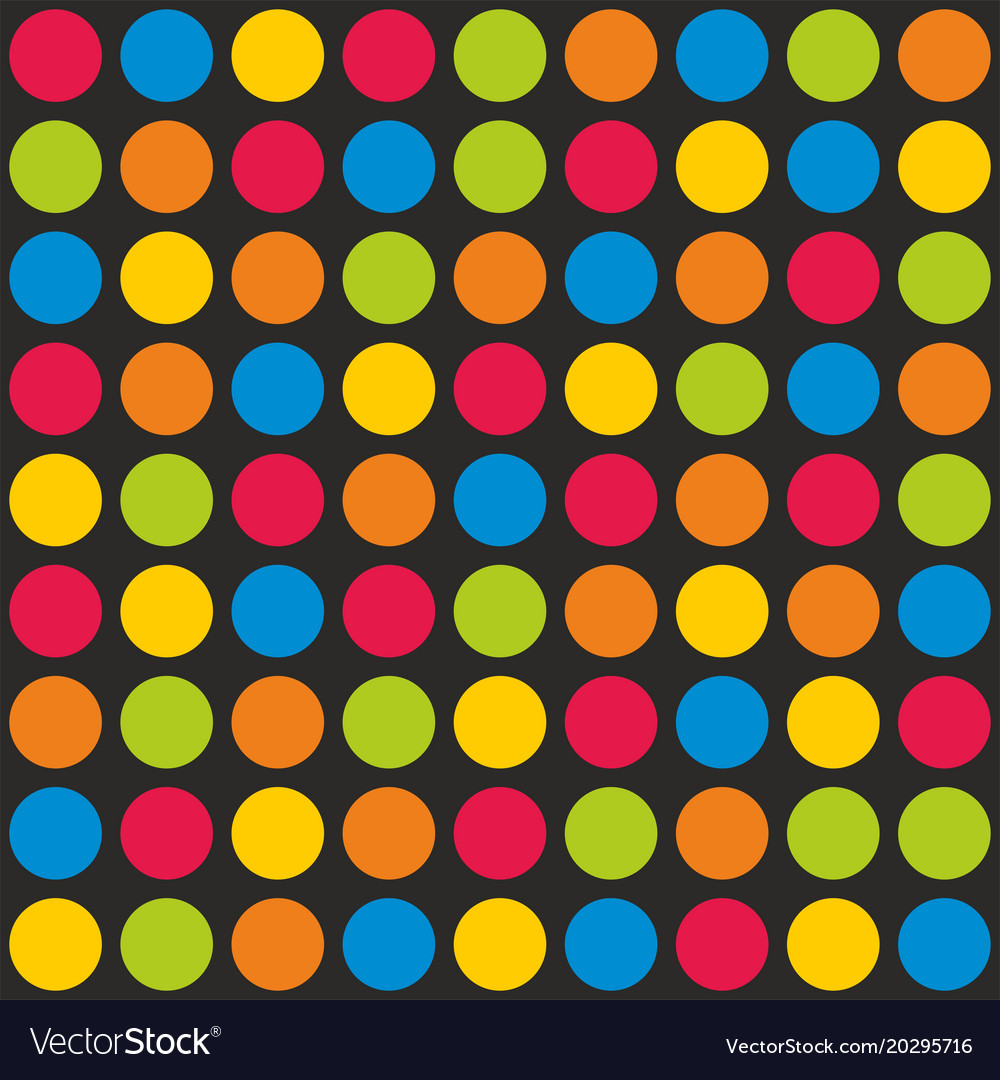 Tile pattern with colorful polka dots on black vector image