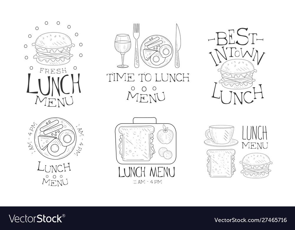 Time to lunch hand drawn retro labels set best in