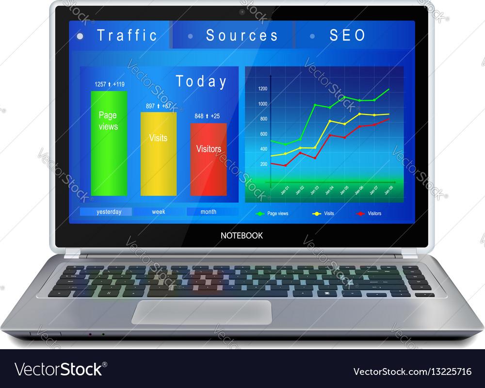 Website analitycs on laptop computer screen